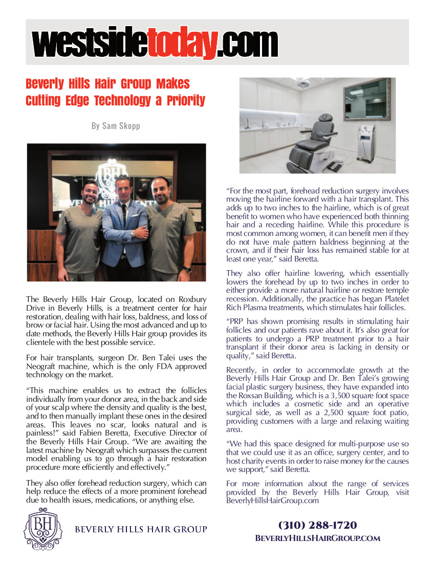 The article thumbnail: Beverly Hills Hair Group Makes Cutting Edge Technology a Priority - WestSide Today