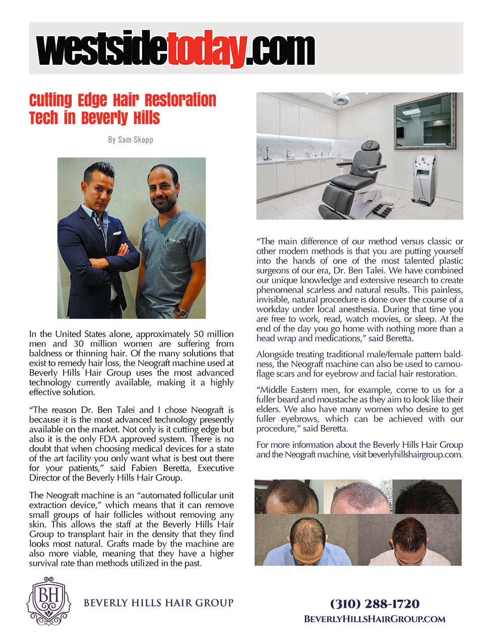 The article thumbnail: Cutting Edge Hair Restoration Tech in Beverly Hills - WestSide Today