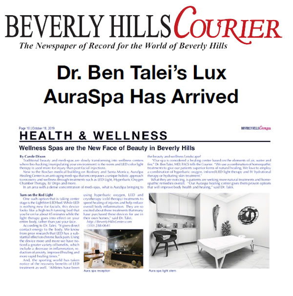 The article thumbnail: Screenshot of article: Dr. Ben Talei's Lux AuraSpa Has Arrived