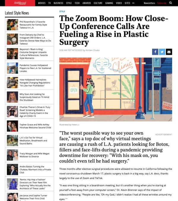 The article thumbnail: Screenshot of an article: The Zoom Boom: How Close-Up Conference Calls Are Fueling a Rise in Plastic  Surgery
